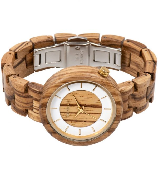 Holzspecht Wood Wrist Watch Sonnentaler Zebra Wood