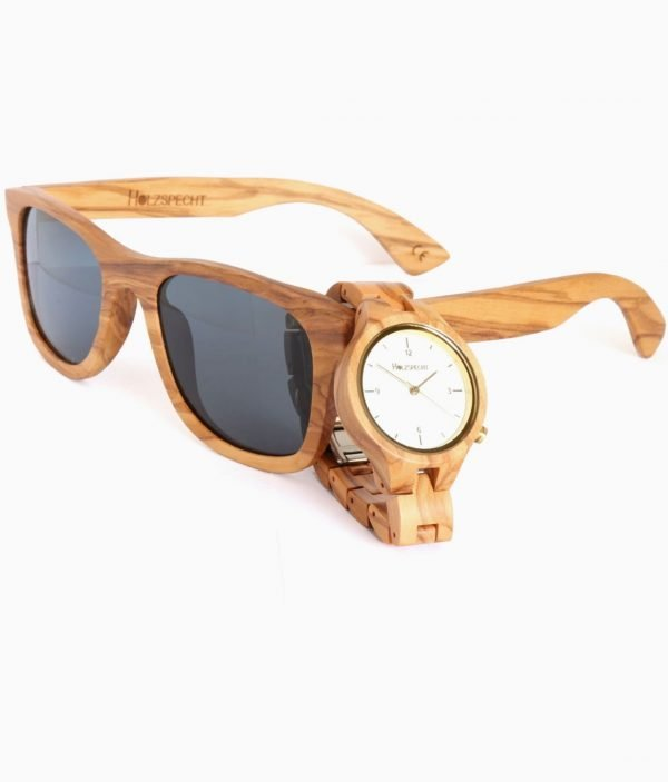 Holzuhr und Holzsonnenbrille Olive