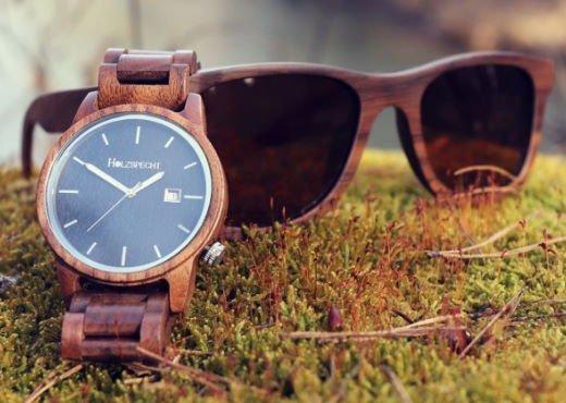 Holzspecht Holzuhr und Holzsonnenbrille Walnuss