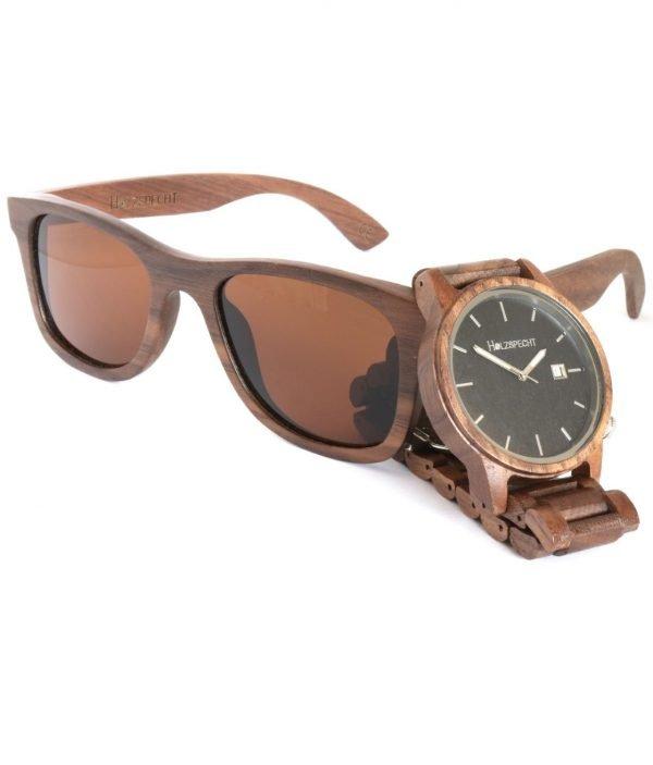 Holzuhr und Holzsonnenbrille Walnuss