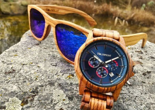 Holzspecht Wooden Watch and Wooden Sunglasses Zebra Wood