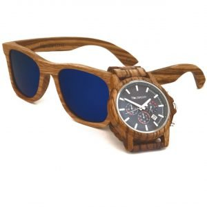 Wooden Watch and Wooden Sunglasses Zebra Wood