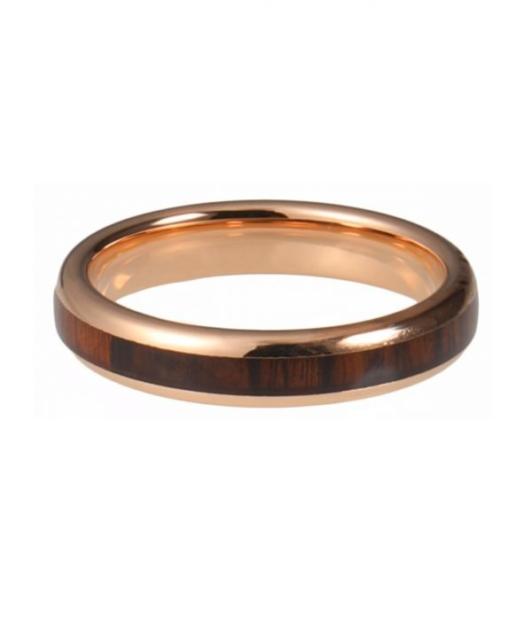 Tungsten Ring rose color with wood