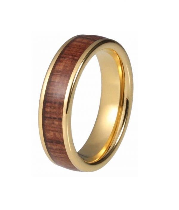 Holzspecht Ring mit Holz Gold