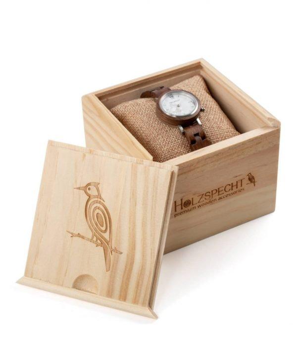 Holzspecht Armbanduhr aus Holz Hochglück Walnuss