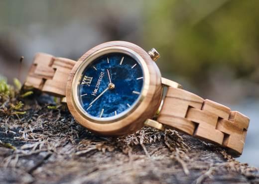 Holzspecht Armbanduhr aus Holz und Marmor