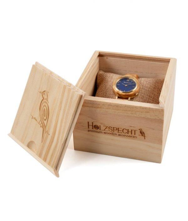 Holzspecht Armbanduhr aus Holz und Stein für Damen