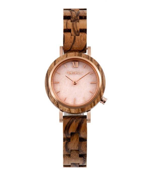Holzspecht Armbanduhr aus Holz und Stein