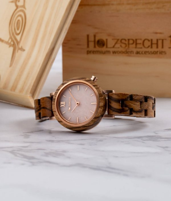 Holzspecht Holzuhr mit Marmor