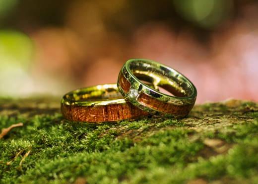 Holzspecht Ringe mit Holz und Kristall