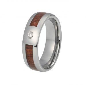 Holzspecht Ring mit Holz und Kristall